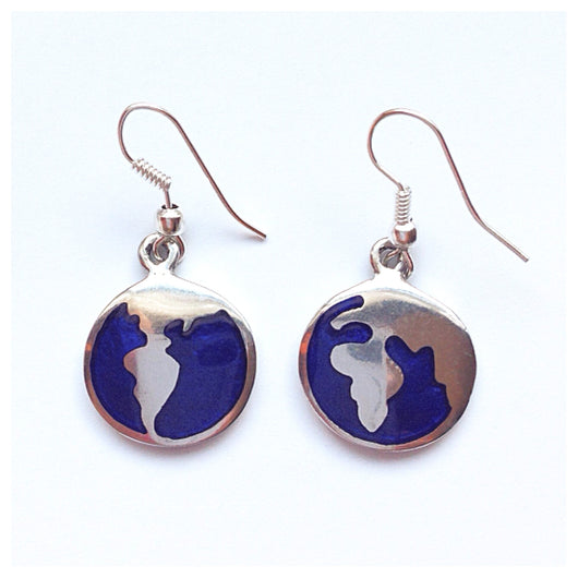 Fair Trade Round Planet Earth Silver Earrings