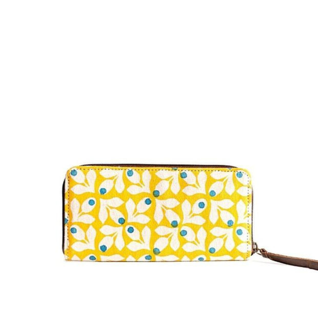 Fabric Wallet - Yellow Print with Blue Berries