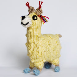 Fair trade and hand knitted 100% cotton stuffed baby llama in pastel colors