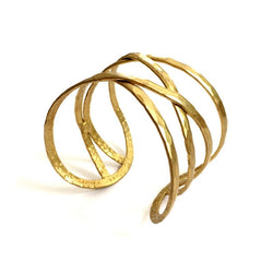 Criss-Cross Cuff Bracelet Gold by Mata Traders