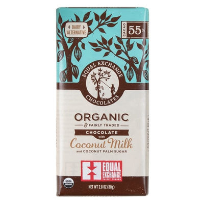 Organic Chocolate with Coconut Milk (55% Cacao) 80g Bar