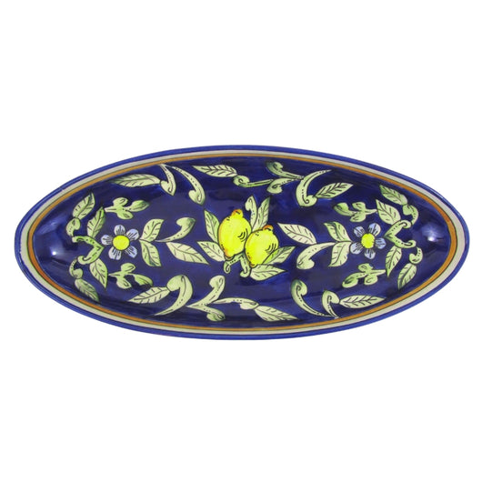 Le Souk Large Hand-painted Ceramic Oval Platter  - Citronique