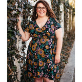 Mata Traders Ainslie Wrap Dress Black Floral - Plus Size model