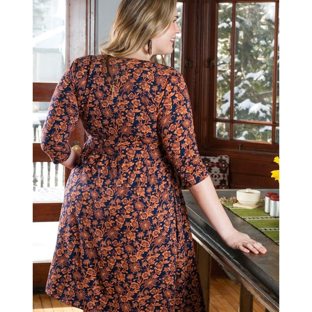 Mata Traders Callie Wrap Plus Size Dress Auburn back