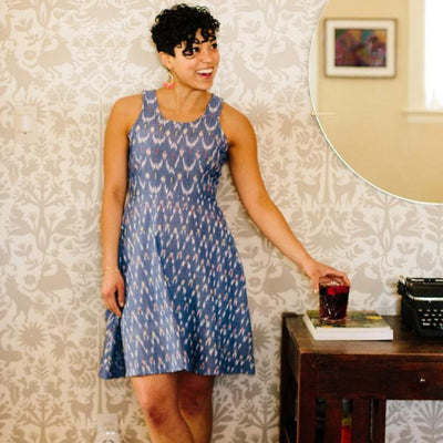 Mata Traders Cecilia Dress Chevron Ikat Blue model
