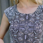 Mata Traders Chilmark Dress Black White Geo - closeup