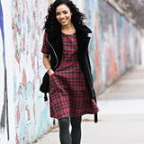 Mata Traders Country Estate Plaid Dress Fuchsia model