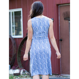 Mata Traders Delia Faux Wrap Dress - Steel Blue print back view