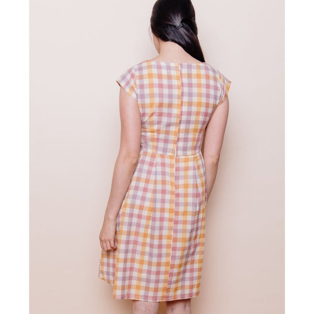 Mata Traders Devonshire Dress Blush Plaid back