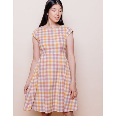 Mata Traders Devonshire Dress Blush Plaid front
