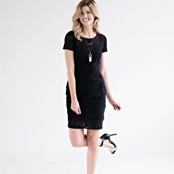 Mata Traders Black Lace Overlay Dress model