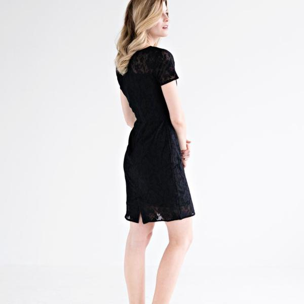 Mata Traders Black Lace Overlay Dress model side