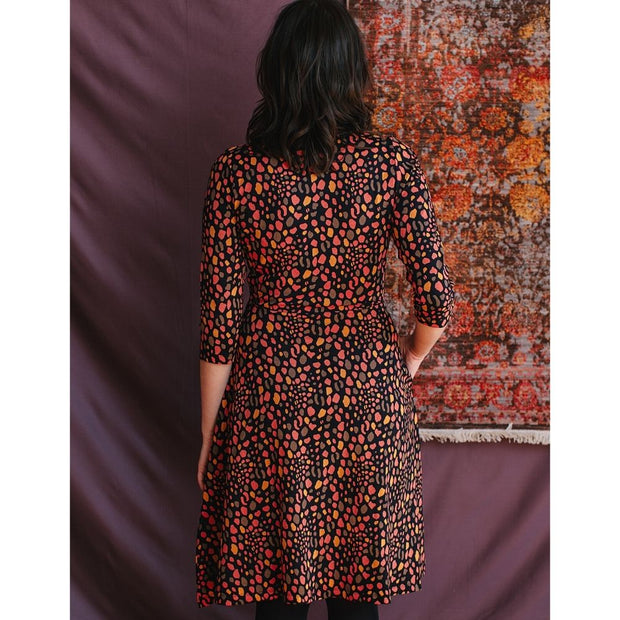 Long Sleeve Callie Wrap Dress Pink Spots back view