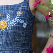 Mata Traders Marigold Dress Cornflower fabric detail