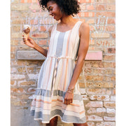 Mata Traders Mondrian Dress Pastel Stripes model