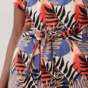 Montrose Tie Dress Layered Palms Peach detail