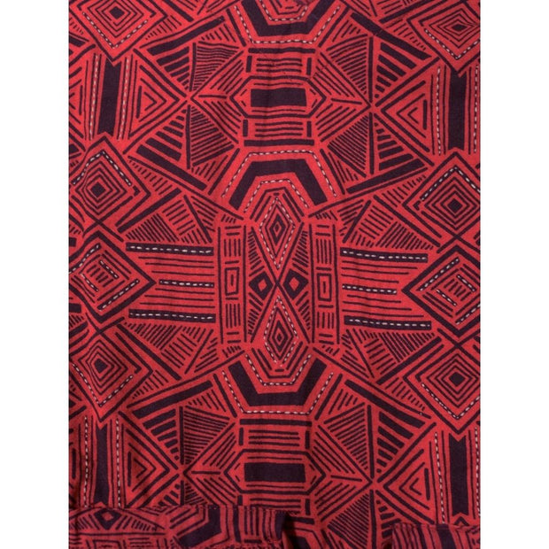 Nashville Dress Red Geo fabric print detail
