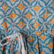 Mata Traders Nashville Dress Teal Orange fabric detail