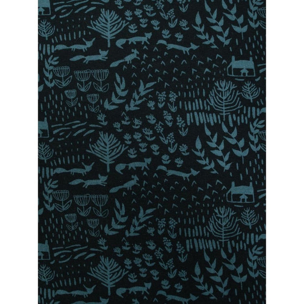 Nola Plus Size Swing Dress Teal Foxes fabric print detail