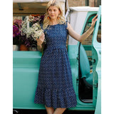 Mata Traders Ruffled Midi Dress Blue Dots-model