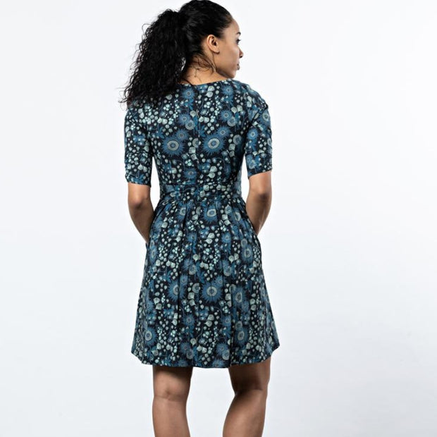 Mata Traders Serephina Dress Slate Blue Floral backview