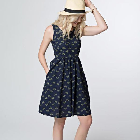 Mata Traders Sydney Dress Navy Bikes model