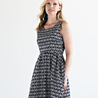 Sydney Screen Printed Dress Black model front view