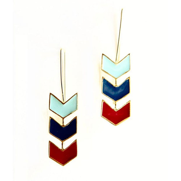 Chevron Hook Earrings Blue Multi by Mata Traders
