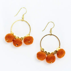 Dangling Pom Earrings Orange by Mata Traders