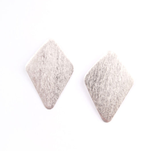 Silvertone Diamond in the Rough Stud Earrings by Mata Traders