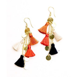 Fringe Frenzy Earrings Orange by Mata Traders