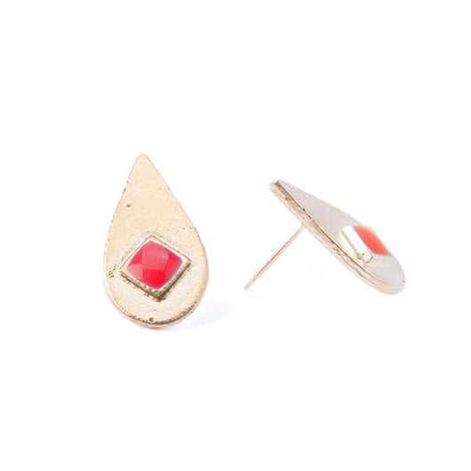 Iona Inlay Stud Earrings Red