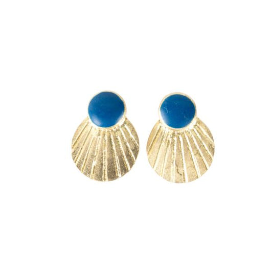 Mata Traders Scallop Brass and Blue enamel Stud Earrings