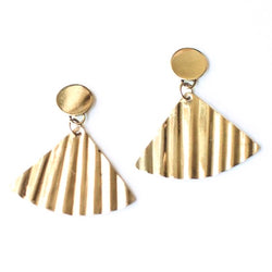 Shimmer Fan Earrings Gold by Mata Traders