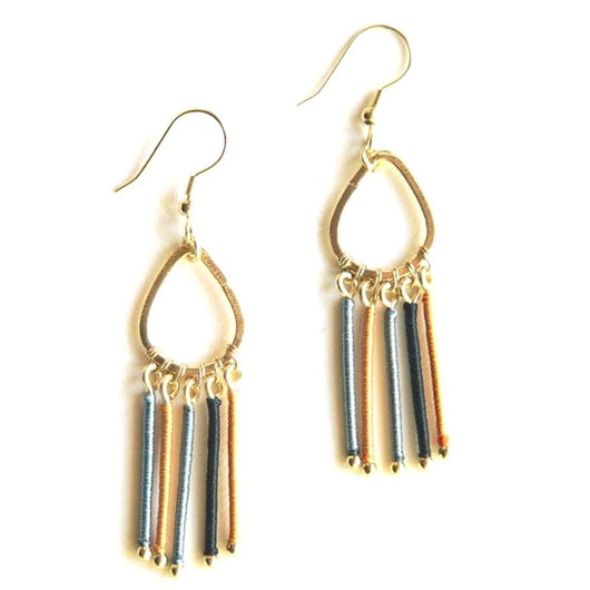Mata Traders Threaded Rays Earrings Blue
