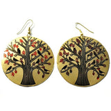 Mata Traders Round Tree of Life Brass Earrings