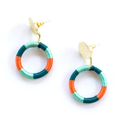 Mata Traders Vibrant Threads Stud Earrings - Aqua Orange