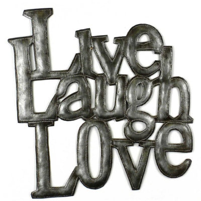 Love Laugh Live Recycled Metal Wall Art Piece