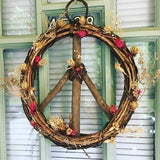 17-inch Wood and Vine Peace Wreath