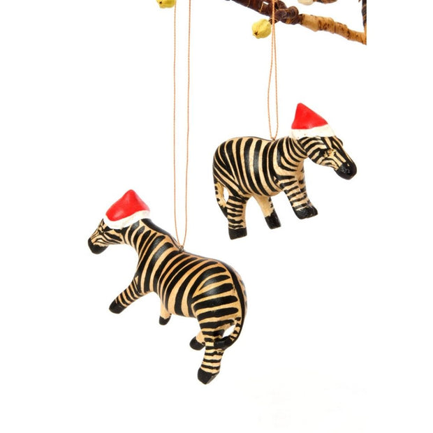 Santa's Little Zebra Helper Ornament lifestyle