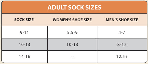 Organic Cotton Footie Sock - Mushroom size chart