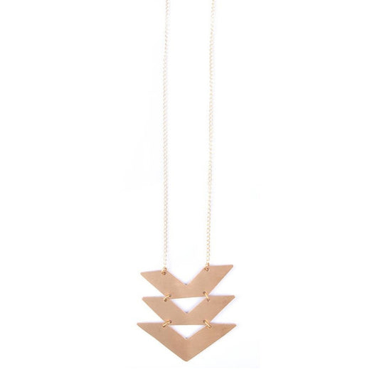Mata Traders Cropped Chevrons Necklace Goldtone