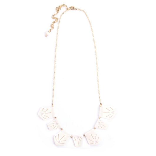 Irena Etched Necklace White by Mata Traders