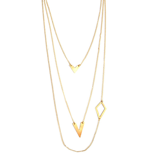 Linked Brass Shapes Necklace by Mata Traders
