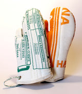 Our recycled flour sack padded oven mitts are handmade and fair trade