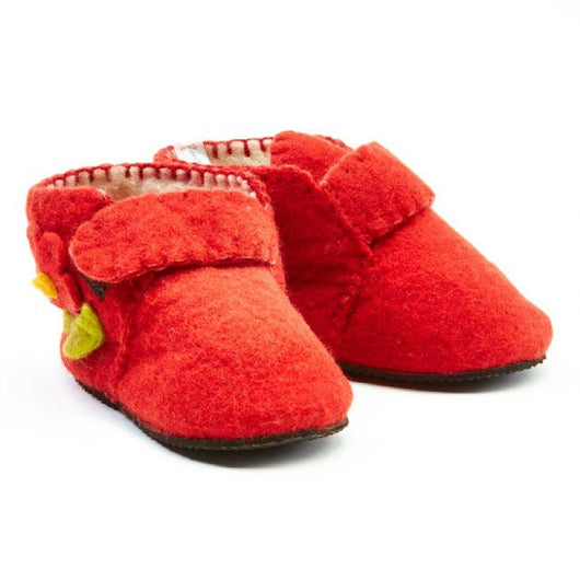 Zooties Toddler Booties - Flowers on Red