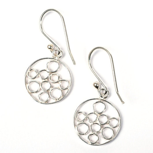 Round Circles Sterling Silver Earrings ONE LEFT