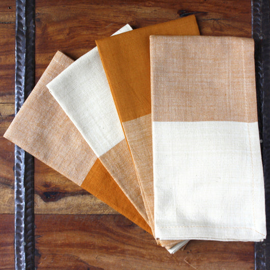 Set of Four Hand-woven Spice Mix Two-Tone Napkins