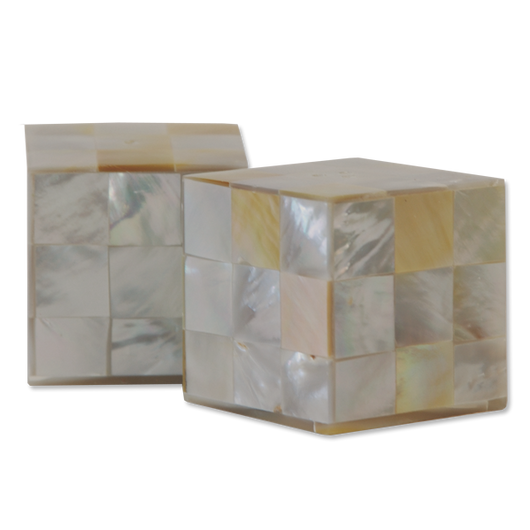 Mother of Pearl Small Square Salt & Pepper Shakers