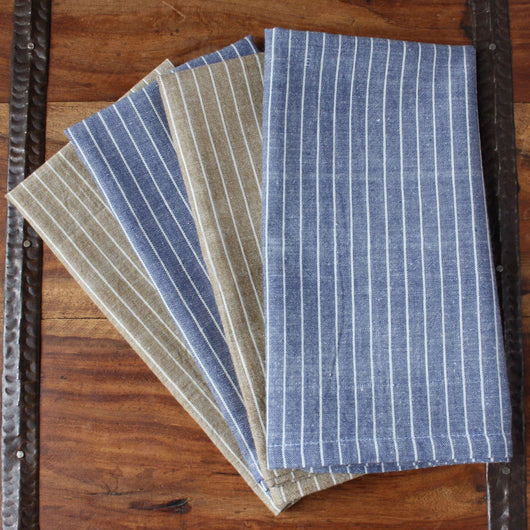 Set of 4 Hand-woven Tarragon Striped Napkins